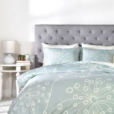Decorate your room with this fresh floral jacquard bedding collection. The soft material is a perfect combination of  blue and green that sits well in any bedroom, and is accented with shades. A duvet cover is a protective cover for your comforter, most likely for your down comforter. Sometimes it's referred to as a comforter cover. Duvet covers are not filled. It has an opening where you can insert your comforter. Filler not included.