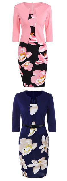 Floral Mid Length Pencil Dress [nice little business-type dresses lol]