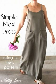 pattern: Summer maxi dress Melissa from Blank Slate Patterns and Melly Sews shows how you can sew a simple maxi dress you can wear all summer long. She includes links to a couple of free patterns you can use. Dress Sewing Patterns, Sewing Patterns Free, Free Sewing, Free Pattern, Clothes Patterns, Pattern Dress, Fabric Sewing, Pattern Sewing, Coat Patterns