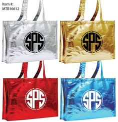 Beautiful shiny vibrant color Laminated Metallic Tote Bags, custom printed. Great for the holidays, events, shopping, gifting, promotional use and branding.Eco-Friendly: Reusable and Recyclable.