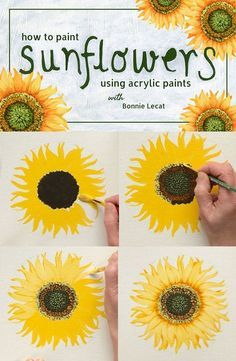 Learn to Paint Sunflowers with acrylic paint in this fun and simple class taught by artist Bonnie Lecat. via How to Paint Sunflowers using Acrylic Paints with Bonnie Lecat Acrylic Painting Flowers, Using Acrylic Paint, Tole Painting, Diy Painting, Painting & Drawing, Acrylic Painting Inspiration, Simple Acrylic Paintings, Art Paintings, Acylic Painting Ideas