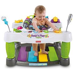 Fisher-Price Superstar Step 'N Play Piano $95.00, will stimulate with hand eye coordination and hearing the many sounds this creates.