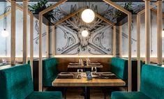 Restaurant Design - Scanaua - Schaan, Dinerbänke, Dunkelgrüner Polsterstoff, Kugellampen, Grafiti, Schwarzmaler, Einrichtung aus Österreich - id Werkstatt