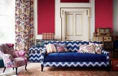 The Bohemian Travels Fabric Collection by Mulberry Home was specifically designed to boast with a strangely unique range of patterns. Mulberry Home, Room Corner, Home Curtains, Furniture Arrangement, Fabric Sofa, Living Room Sofa, Small Apartments, Home Collections, Upholstery
