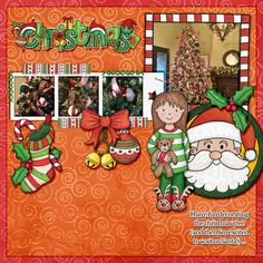 """Kate Hadfield Designs Creative Team inspiration: """"Christmas Overlays & Tapes""""   Digital scrapbook layout by Karen"""