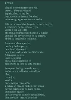 """22/06 César Vallejo, Fresco - """"Pero para las lágrimas de amor, / los luceros son lindos pañuelitos / lilas,/  naranjos,/  verdes, / que empapa el corazón."""" Cesar Vallejo, Fresco, Bucket, Amor, Orange Trees, Spirituality, Poems, Fresh, Aquarius"""