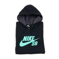 Nike SB Foundation Icon Hoodie, Black/Crystal Mint ($40) ❤ liked on Polyvore featuring tops, hoodies, jackets, shirts, sweaters, shirt hoodies, sweatshirt hoodies, nike shirts, nike hoodie and shirt hoodie