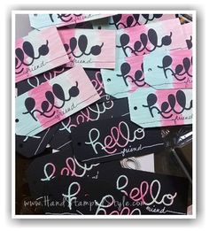 HandStampedStyle shares Hello You thinlits creating with negative space, making simple angled tag topper punch tags and water color technique