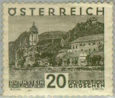 Znaczek: Dürnstein, Lower Austria - large format (Austria) (Landscapes) Mi:AT 503,Sn:AT 331,Yt:AT 382,ANK:AT 503,AFA:AT 417