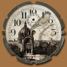Vintage Then and Now Illustrations, Illustration Art, Clock Printable, Tick Tock Clock, Art Vintage, Vintage Clocks, Face Collage, Chalk Paint Projects, Cool Clocks