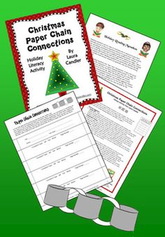 """Free Paper Chain Connections activity - Students make connections while reading and write their connections on slips of paper. They link their connections together to form a long paper chain that can be used to decorate a Christmas tree. The Paper Connections activity would work well in a literacy center or as a part of a holiday """"reading marathon."""""""
