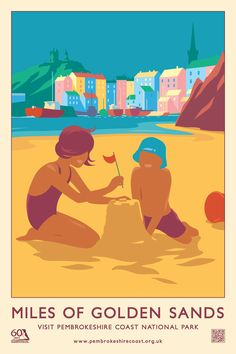 """""""Miles of Golden Sand"""" Pembrokeshire Coast National Park Railway Travel Poster (AddoCreative)"""