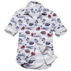 the beach in Hawaii, beach VAN, men's casual shirt, yarn dyed stripe and printed shirt