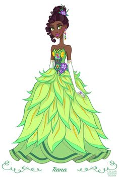 """Tiana from """"The Princess and the Frog"""" - Art by Lee Ann Dufour Design"""