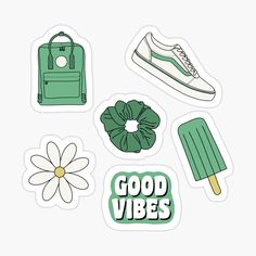'Green Sticker Pack' Sticker by Jamie Maher Stickers Cool, Bubble Stickers, Phone Stickers, Journal Stickers, Scrapbook Stickers, Planner Stickers, Homemade Stickers, Wallpaper Stickers, Aesthetic Stickers