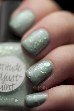 Attitude Adjust-Mint is an amazing mix of super-thin, iridescent mint glitters in a sort of sheer minty base. It is not thick enough to wear on its own. I really had a tough time finding a base for this. I settled on LVX Avireo, which I reviewed yesterday. This is 2 coats over the base!