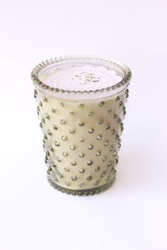 @knittedbelle #knittedbelle Stem Hobnail Glass Candle by Simpatico