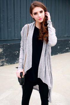 Heap Collar Black Grey Cardigan  #Romwe