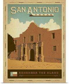 San Antonio, Texas - Retro Travel Poster