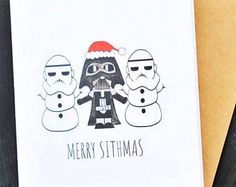 Funny and cute Star wars christmas card! Star Wars Christmas Card - Merry Sithmas (darth vader christmas card - star wars christmas card - stormtrooper christmas card -sith lord)