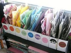 What an awesome idea for organizing your scrapbook paper scraps. I so need to do this (craft organization, scrapbook organization) Scrap Paper Storage, Scrapbook Storage, Scrapbook Organization, Craft Room Storage, Craft Organization, Craft Rooms, Classroom Organization, Scrapbook Rooms, Organize Scrapbook Paper