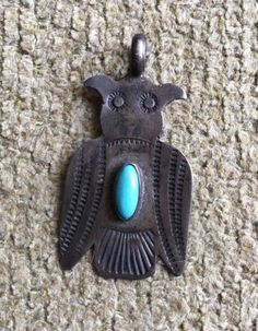 Antique Navajo Sterling Silver And Turquoise Owl Pendant. Fabulous