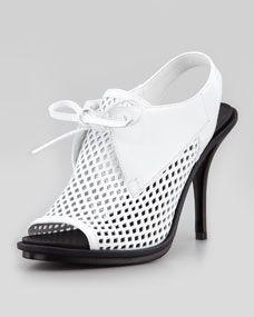 Balenciaga - Leather Mesh Glove Slingback Sandal, White