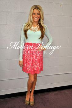 Modern Vintage Boutique - Sweet Pea Lace Dress coral, $49.00 (http://www.modernvintageboutique.com/sweet-pea-lace-dress-coral.html)