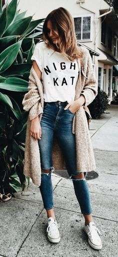 #Winter #Outfits / Knit Cardigan - White Sneakers