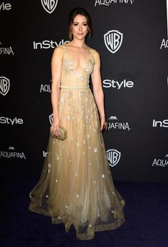 Amanda Crew in Yanina Couture at the 'InStyle' and Warner Bros. party. Photo: Frazier Harrison/Getty Images.