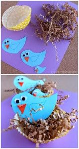 Blue Bird Craft with Cupcake Liner Nests - Crafty Morning - Bird Crafts for Kids Spring Crafts For Kids, Crafts For Kids To Make, Summer Crafts, Art For Kids, Kids Fun, Preschool Crafts, Easter Crafts, Fun Crafts, Daycare Crafts