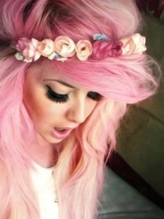 That's a pretty good pink. I like the fade from Darker, almost cotton candy to a peachy. AND she looks like a burnette!
