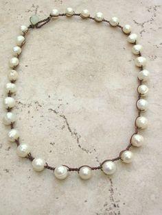 Pearl crochet necklace Bohemian jewelry Fresh by 3DivasStudio