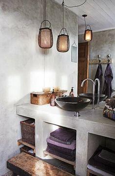 Plastered concrete shelves in the bathroom...