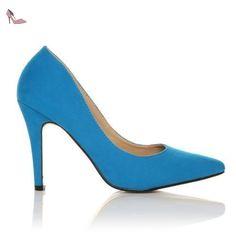 ShuWish UK - Escarpins Daim Synthétique Pointus Talon Aiguille Darcy - Daim turquoise, Synthétique, 36 EU - Chaussures shuwish uk (*Partner-Link)