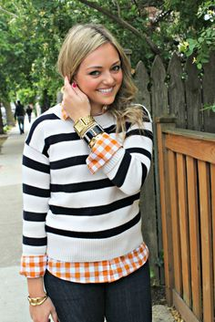 Love the stripe/check comb and the orange and black colors make it the perfect halloween preppy outfit.