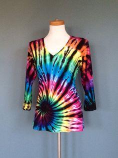 Womens Black Tie-dye Top Hippie Clothes Bohemian by 2dye4designs