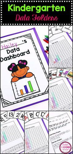 Kindergarten assessment and data folders which include checklist, graphs to keep track of student progress, and flashcards for assessing. Kindergarten Data Notebooks, Kindergarten Goals, Kindergarten Portfolio, Kindergarten Lesson Plans, Kindergarten Assessment Checklist, Math Assessment, Data Boards, Data Folders, Data Tracking
