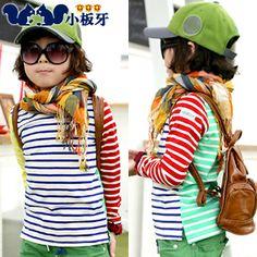 2013 autumn korean children spell color stripes child children boy long-sleeved t-shirt / bottoming shirt 6517 only $7.77USD a Piece