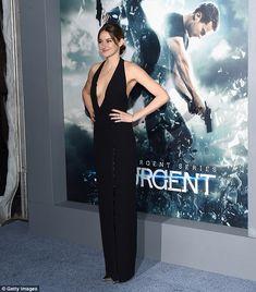 Ooh la la: Shailene turned every head in her slinky black number, leaving plenty of cleava...