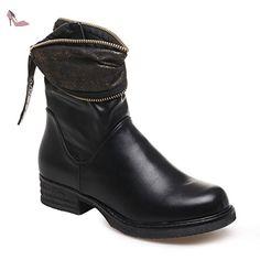 La Modeuse - Bottine simili cuir dotée d'une tige drapée et d'un revers plissé scintillant - Chaussures la modeuse (*Partner-Link)