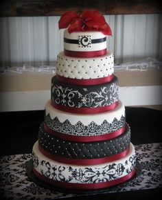 This could work for paul and beths wedding....Burgundy, Black and White wedding. These are my wedding colors, except it will be Crimson and Cream. :)