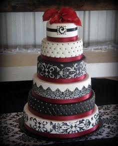 Burgundy, Black  and White wedding. Loveee this!!