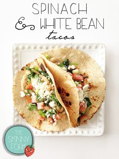Spinach & White Bean Tacos — Perfect easy meatless meal that's sure to satisfy and fill your tummy without any guilt! Just at 300 calories for two!