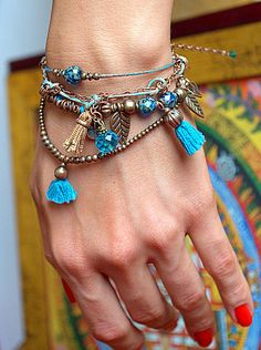 Bracelet with chain and tassel from Art of Rainbow by DaWanda.com