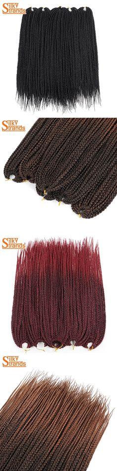 Silky Strands Crochet Box Braids Crochet Braids Hair Extensions Kanekalon Synthetic Braiding Hair Ombre Colors Bulk 14 18 24''