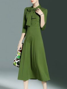 Simple Stand Collar Plain 3/4 Sleeve Bow Midi Dress