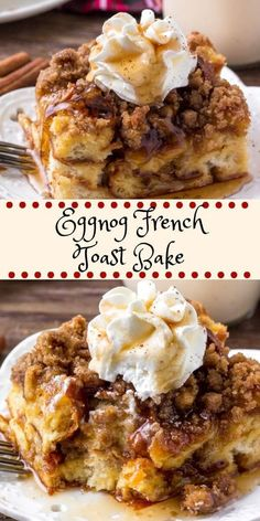 Eggnog French Toast Bake is an easy, make-ahead breakfast casserole that's perfect for the holidays. It's extra fluffy with a delicious eggnog flavor and crunchy crumble topping. breakfast Eggnog French Toast Bake - with Easy Make Ahead Option Breakfast Appetizers, Breakfast Dessert, Breakfast Dishes, Holiday Appetizers, Make Ahead Breakfast Casseroles, Dessert Bread, Best Breakfast Foods, Wife Saver Breakfast, Breakfast Ideas
