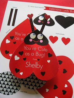 Lady Bug Valentine Card Craft van TBoneSquid op Etsy