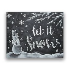 Let it Snow - Christmas Print - Christmas Art - Chalkboard Art - Holiday Decor - Christmas Chalkboard - Chalk Art - Chalkboard Print - Bring the Christmas spirit into your home with a funny snowman and the hope of a white Christmas! Chalkboard Print, Chalkboard Signs, Chalkboard Ideas, Chalkboards, Wort Collage, Doodle Pattern, Christmas Chalkboard Art, Funny Snowman, Art Sur Toile